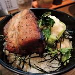 豚蔵 - 2015年3月8日(日) 日曜限定「味そ蔵」炭火焼ステーキチャーシュー丼(ラーメンとセットで450円)