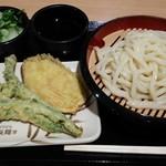 丸亀製麺 イオン板橋店 - ざる並、菜花天、芋天、薬味(大根おろし、生姜、ネギ)