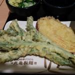 丸亀製麺 イオン板橋店 - 菜花とサツマイモ