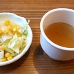 ドッグカフェバークス - 飼い主用 とろとろ卵のデムソースオムライスセット サラダとスープ