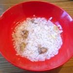 ドッグカフェバークス - ワンコ用 鶏心臓付きレバーのリゾット