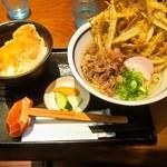 うどん屋麺之介 - 料理写真:肉ごぼう天うどん & ミニカツ丼