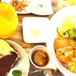 ツナグカフェ - 夜カフェ丼スイーツセット(スイーツ&ドリンク付)¥1600