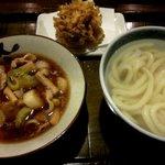 かまど - 肉つけ汁うどん(温)+かき揚げ天!(2015,03/07)