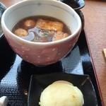 udondyayatsudura - つけつゆと卵のてんぷら