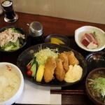 ごはんや金沢 - 牡蠣フライ定食全景