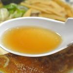 らーめん逍遥亭 - らーめん逍遥亭・醤油ラーメンスープ(2015.03)