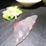 リストランテ・ダ・バッボ - 築地よりの旬魚のカルパッチョ  尾崎牛の低温ロースト  つぼみ菜  オリーブ