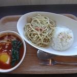 Tステーション - つけナポリタン:麺・ライス・タマゴ・焼きチーズ・小海老 ¥1,080