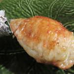 池田屋 - 手羽うずら卵つめ焼。分かりやすく言えば、手羽餃子にうずら玉子が入ったもの。
