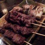 焼鶏 喝采 - ねぎま、砂肝、ハツ2015,3