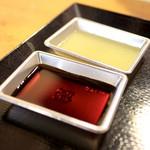 明神丸 - ポン酢と柚子酢。 '15 2月上旬