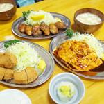 Tonkatsumampei - 2人でヒレカツ、カキバター、ハンバーグ