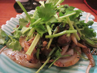 NARI屋 - パクチーと豚バラ肉の豆豉(ドウチ)炒め。唐辛子やドウチの他に、中国山椒も効かせていて、複雑な辛さになってます。