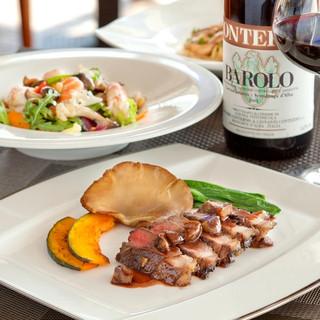 旬の食材を使用したイタリア料理の数々