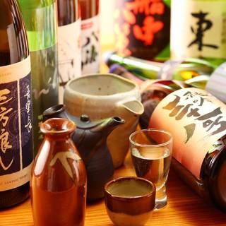店主の厳選する地酒の数々。珍しい銘柄も。