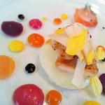 シェ・モンピエール - サーモンのマリネとチーズのラヴィオリ