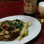 中華料理 一番 - レバニラ炒め&ビール