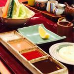 wafuukushiagezen - 串によって指定があります             レモン、マヨ、塩、オーロラ、ぽん酢、タレ