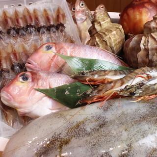 新鮮で旨い魚。毎日仕入れる旬の味覚