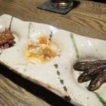 ごはんや 要兵衛 - 前菜 蛍烏賊の蕗の薹味噌 蕪とずわい蟹の人参ペースト和え 公魚の甘露煮