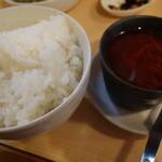 葡萄の牙 - かいのみステーキセット(ランチ)(スープをピリ辛スープ煮込みにチェンジ)