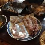 山はげ - 大きな海老と太刀魚