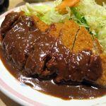 洋食屋 双平 - トンカツ定食(L)、ほんのり苦味のある濃厚なソースを絡めて食べるとんかつは格別です!