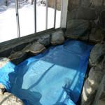 きくの園 - 冬は露天風呂は保温のためシートがかかっていました〜これは入る気になれず(笑