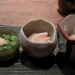 Kokutorasakurai - 蛍烏賊の酢味噌、ミル貝と百合根煮物、モズクとエンドウ豆酢の物