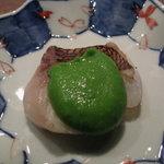 Kokutorasakurai - 桜鯛の低温調理、エンドウ豆ピューレ
