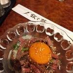 焼肉 燦々亭 - レアステーキユッケ。