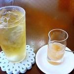紅茶舗サウザンドリーフ - 桃のコンポートとアイスティー 890円 (^ω^) 夏には最高ですw