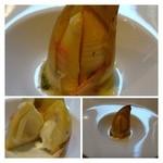 エルミタージュ - ◆筍、中にモッツラレチーズ 筍の美味しい季節ですね。小さ目の筍の中にモッツラレチーズが入っていて、食感を楽しめる品でした。