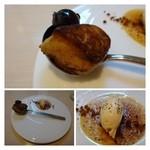 エルミタージュ - ◆フォアグラ3種・・グリルした品、ムース状の品、ペースト状にしてフランベした品。 フォアグラはこのように表面をカリッと焼いた品がすきです。 ほかの2種類もなめらかでいいお味でした