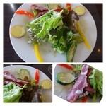 カサドールキッチン - ◆「野菜サラダ(共通)」・・お野菜たっぷりですし、サツマイモやオクラなどは火を通してあります。 提携農家から仕入れられているようですが、美味しいお野菜ですね。チーズ風味のドレッシングもいいお味でした。