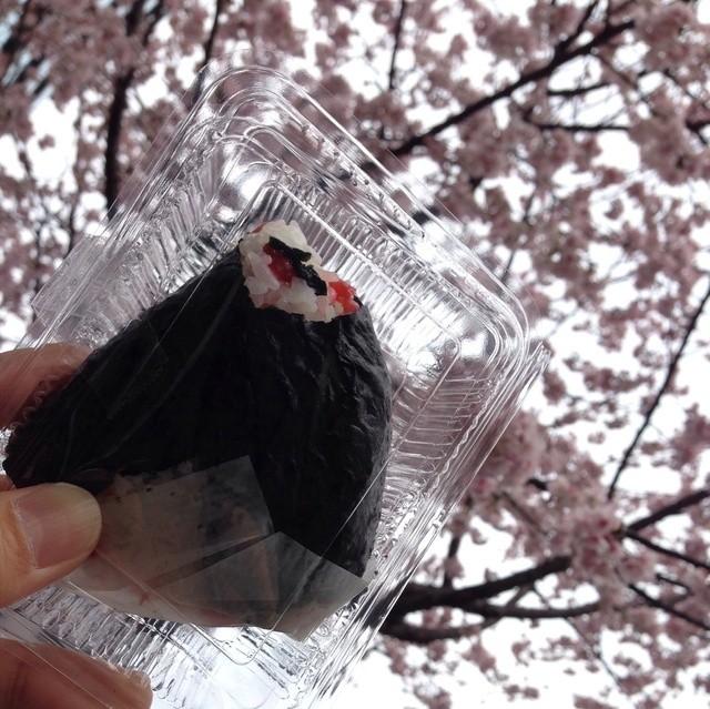 森本米穀 - 梅ワカメ140円税込と満開の大寒桜
