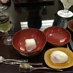 日本料理 太月 - 甘味 抹茶プリン 苺大福 桜アイス 2015-3