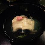 日本料理 太月 - 御碗 あいなめ 葛たたきき 板蕨 かぎ蕨 桜花と 2015-3