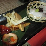 松吟庵 - 筍・焼き 肉巻き・生タコの造り・白魚天ぷら