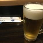太郎寿司 - 生ビールでぷはっー。