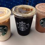 36046205 - 左からキャラメルマキアート、ブラックコーヒー、ココア