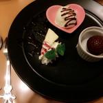 サプコタ - 手作り感のあるデザート♡ フォークとスプーンがディズニーで可愛かったです♩ 大好きなライチが一緒で気分上がりました。