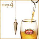 step4:グラスを立てて泡を作ります