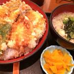 丼丼亭 - 賑わい天丼大盛り+そば 800円