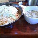ラ-メン 薫風 - 大盛辛つけ麺定食(麺350g+ライス+餃子)930円