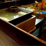 明治屋 - 湯豆腐の湯船ですね