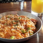 Rizottokafetoukyoukichi - 枝豆とレンズ豆とベーコンのトマトリゾット