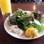 Rizottokafetoukyoukichi - ランチのサラダ。ハロウィン時なのでポテサラ→かぼちゃのサラダに。