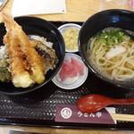 うどん市 - 特大海老天丼とうどんセット(700円)
